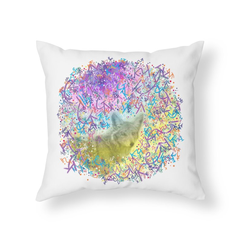 Chromatic Coyote Home Throw Pillow by VanillaKirsty's Artist Shop