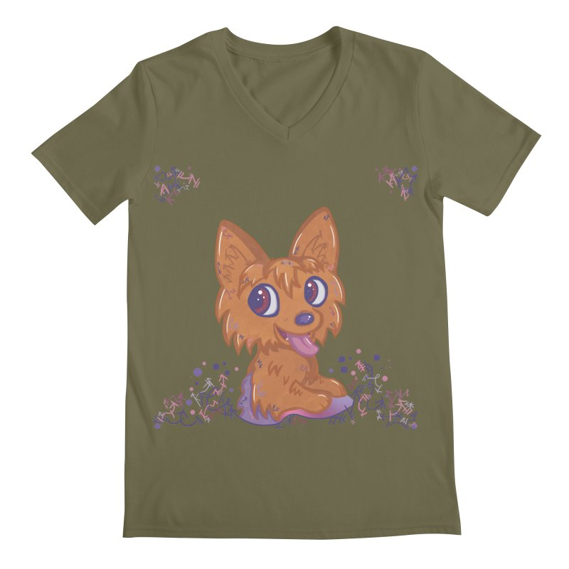 Little Yorkie  Men's V-Neck by VanillaKirsty's Artist Shop