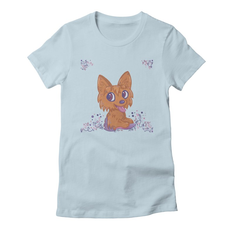 Little Yorkie  Women's Fitted T-Shirt by VanillaKirsty's Artist Shop