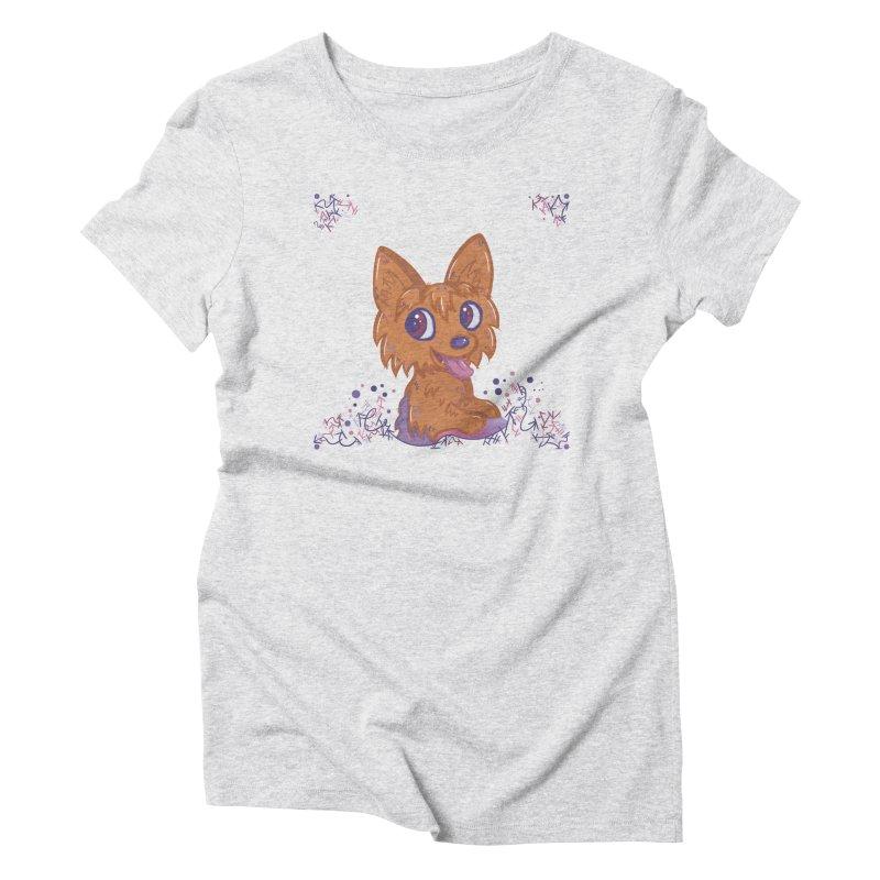 Little Yorkie  Women's Triblend T-shirt by VanillaKirsty's Artist Shop