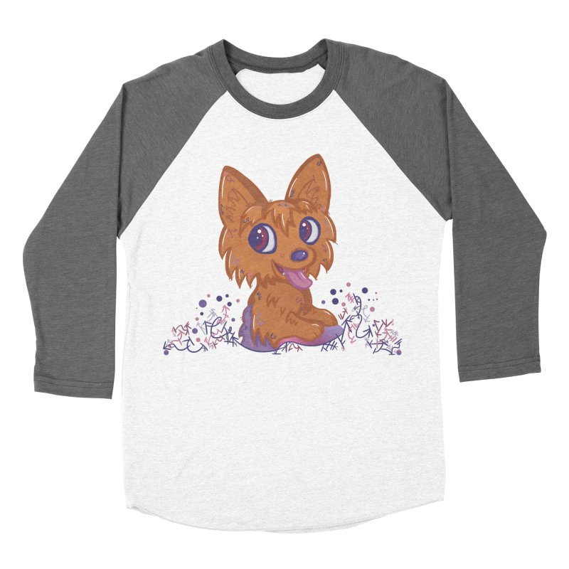Little Yorkie  Men's Baseball Triblend T-Shirt by VanillaKirsty's Artist Shop