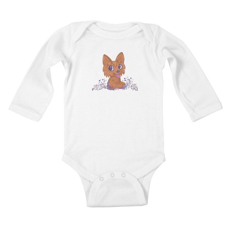 Little Yorkie  Kids Baby Longsleeve Bodysuit by VanillaKirsty's Artist Shop