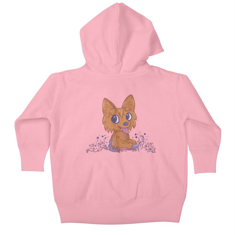 Little Yorkie  Kids Baby Zip-Up Hoody by VanillaKirsty's Artist Shop