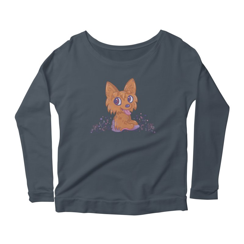 Little Yorkie  Women's Longsleeve Scoopneck  by VanillaKirsty's Artist Shop