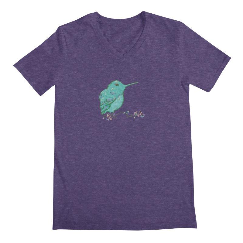 Tiny Hummingbird (Light Green) Men's V-Neck by VanillaKirsty's Artist Shop