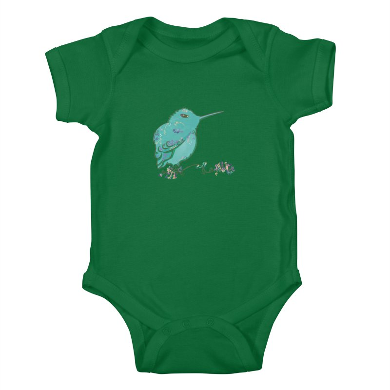 Tiny Hummingbird (Light Green) Kids Baby Bodysuit by VanillaKirsty's Artist Shop