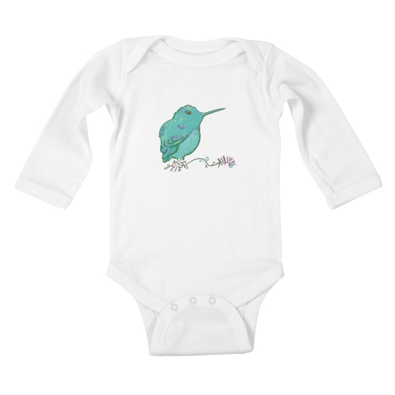 Tiny Hummingbird (Light Green) Kids Baby Longsleeve Bodysuit by VanillaKirsty's Artist Shop