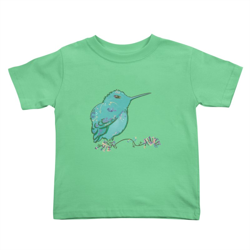 Tiny Hummingbird (Light Green) Kids Toddler T-Shirt by VanillaKirsty's Artist Shop