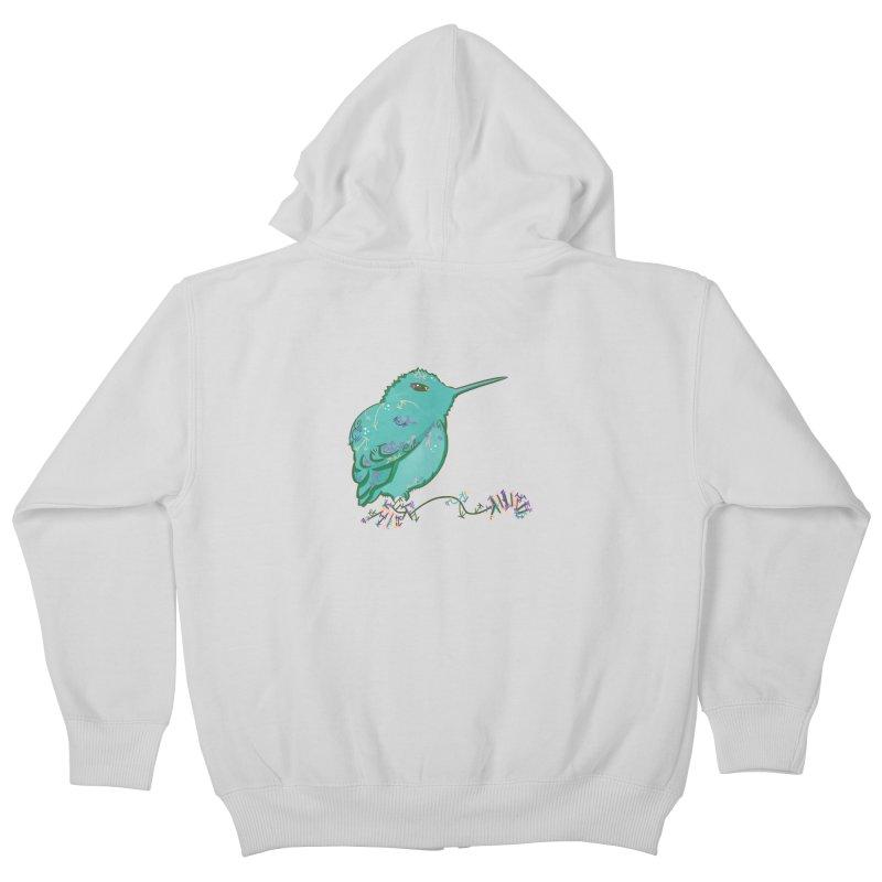 Tiny Hummingbird (Light Green) Kids Zip-Up Hoody by VanillaKirsty's Artist Shop