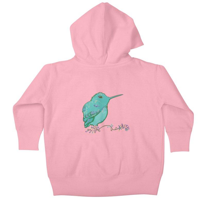 Tiny Hummingbird (Light Green) Kids Baby Zip-Up Hoody by VanillaKirsty's Artist Shop