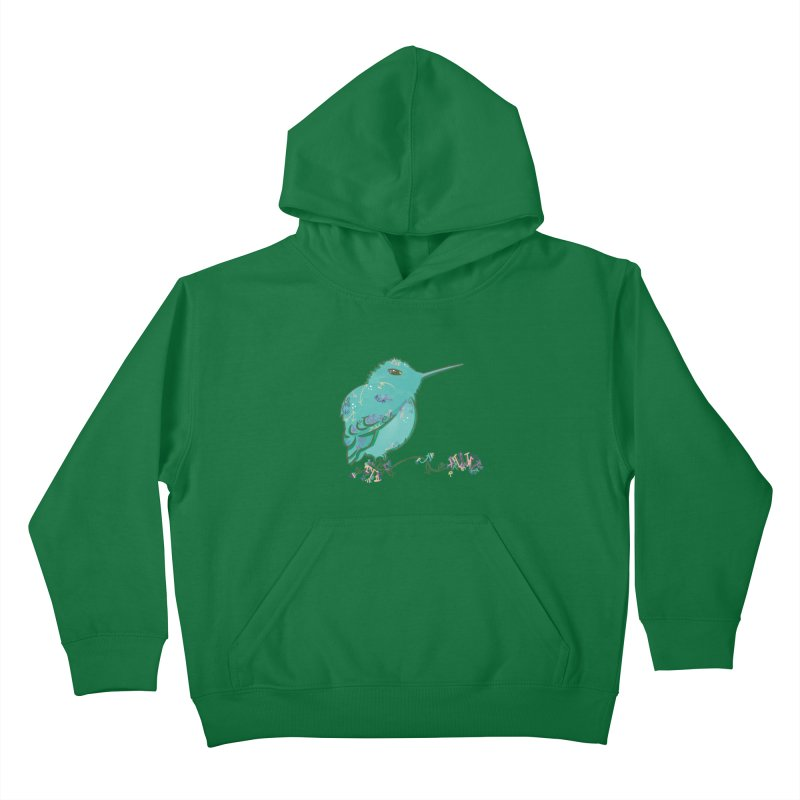 Tiny Hummingbird (Light Green) Kids Pullover Hoody by VanillaKirsty's Artist Shop