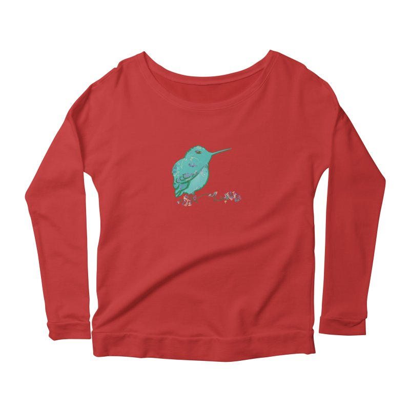 Tiny Hummingbird (Light Green) Women's Longsleeve Scoopneck  by VanillaKirsty's Artist Shop