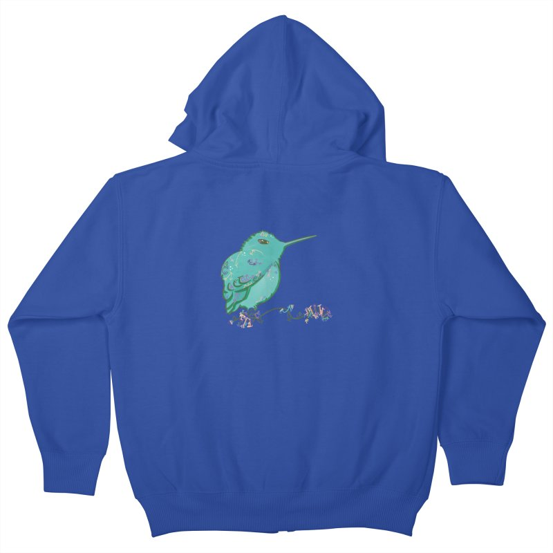 Tiny Hummingbird (Light Green) Kids Zip-Up Hoody by VanillaKirsty's Artist Shop
