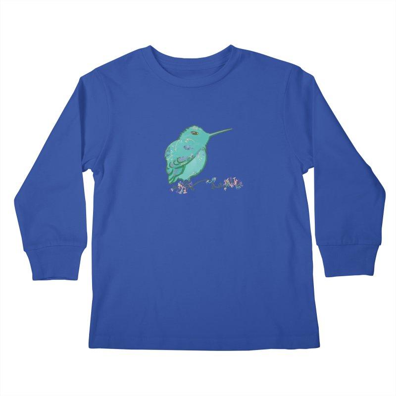 Tiny Hummingbird (Light Green) Kids Longsleeve T-Shirt by VanillaKirsty's Artist Shop
