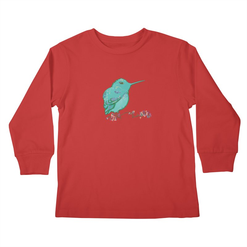 Tiny Hummingbird (Light Green) Kids Longsleeve T-Shirt by VanillaKirsty's Artist Shop