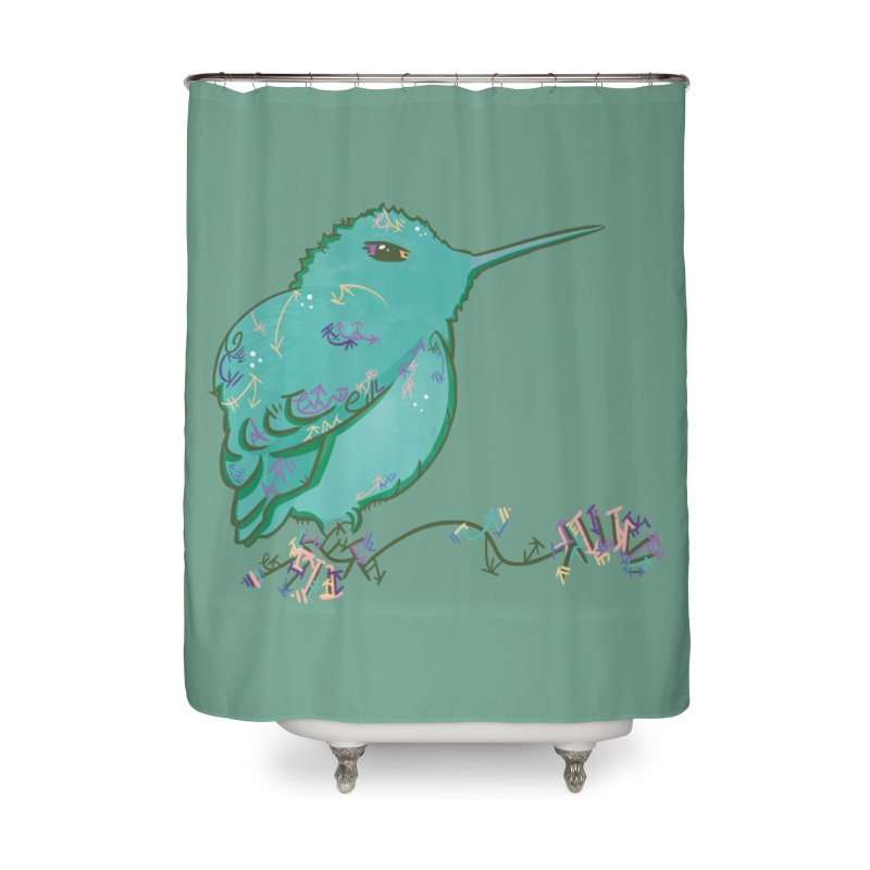 Tiny Hummingbird (Light Green) Home Shower Curtain by VanillaKirsty's Artist Shop