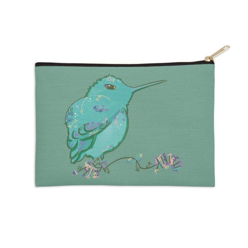 Tiny Hummingbird (Light Green) Accessories Zip Pouch by VanillaKirsty's Artist Shop
