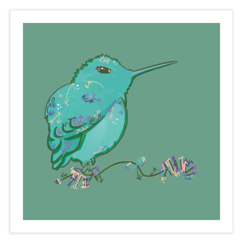 Tiny Hummingbird (Light Green) Home Fine Art Print by VanillaKirsty's Artist Shop