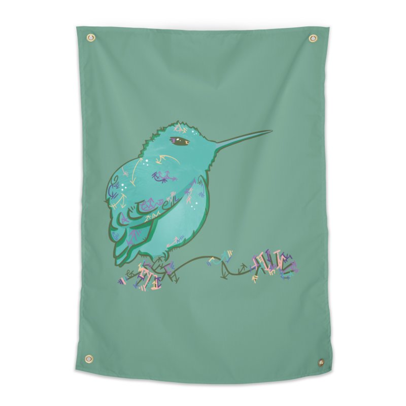 Tiny Hummingbird (Light Green) Home Tapestry by VanillaKirsty's Artist Shop
