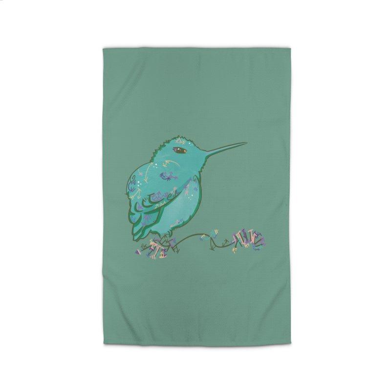 Tiny Hummingbird (Light Green) Home Rug by VanillaKirsty's Artist Shop