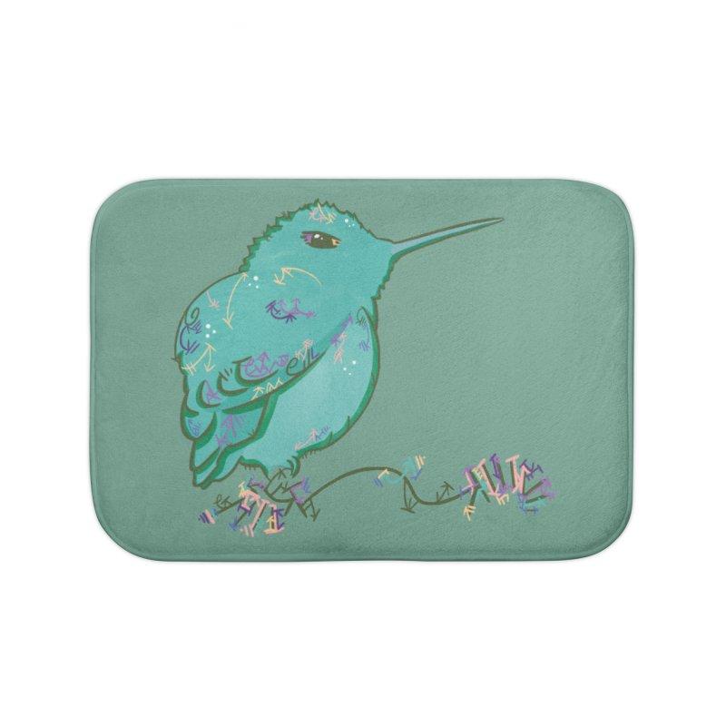 Tiny Hummingbird (Light Green) Home Bath Mat by VanillaKirsty's Artist Shop