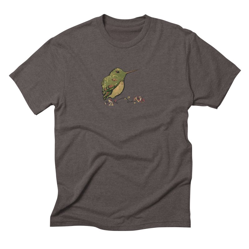 Tiny Hummingbird (Olive) Men's Triblend T-shirt by VanillaKirsty's Artist Shop
