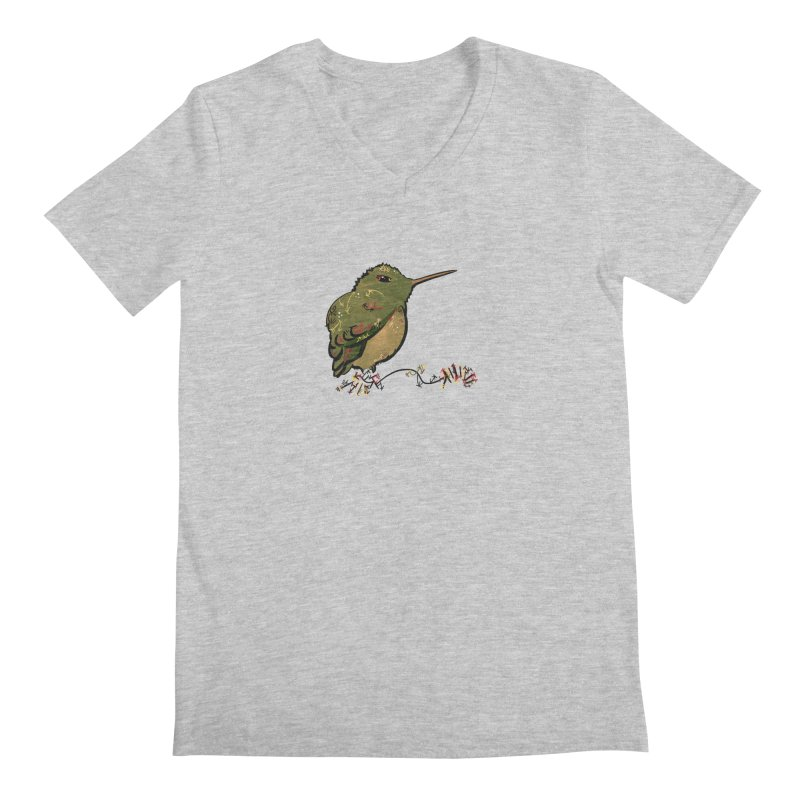 Tiny Hummingbird (Olive) Men's V-Neck by VanillaKirsty's Artist Shop