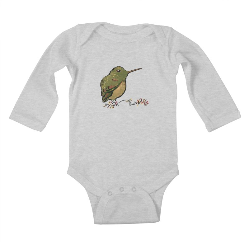 Tiny Hummingbird (Olive) Kids Baby Longsleeve Bodysuit by VanillaKirsty's Artist Shop