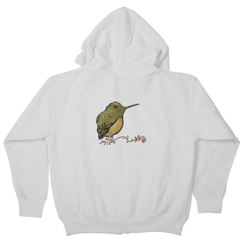 Tiny Hummingbird (Olive) Kids Zip-Up Hoody by VanillaKirsty's Artist Shop