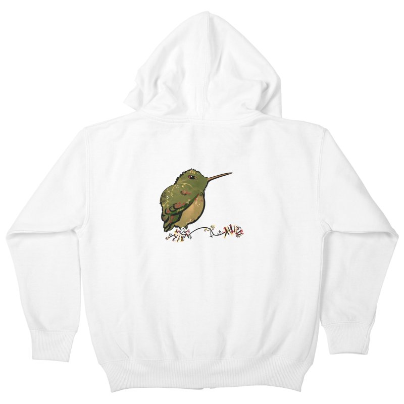 Tiny Hummingbird (Olive) Kids Zip-Up Hoody by VanillaKirsty's Artist Shop
