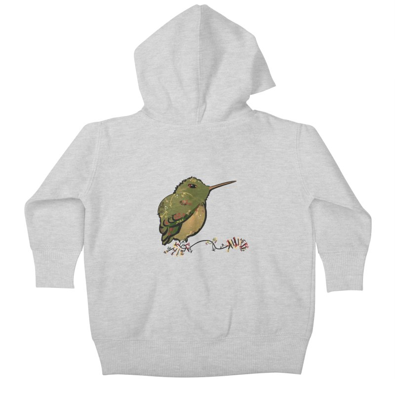 Tiny Hummingbird (Olive) Kids Baby Zip-Up Hoody by VanillaKirsty's Artist Shop