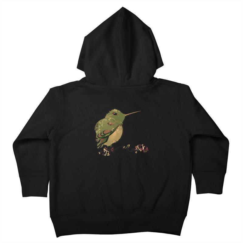 Tiny Hummingbird (Olive) Kids Toddler Zip-Up Hoody by VanillaKirsty's Artist Shop