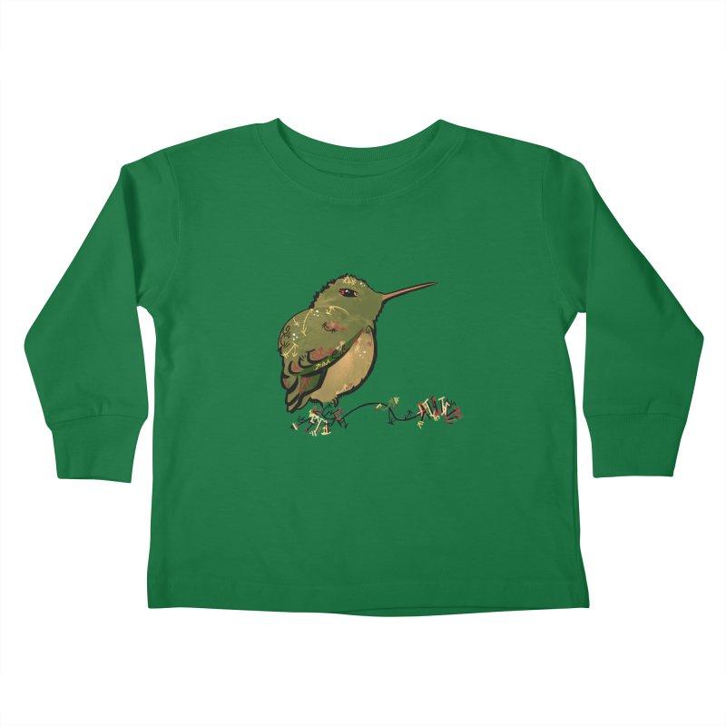 Tiny Hummingbird (Olive) Kids Toddler Longsleeve T-Shirt by VanillaKirsty's Artist Shop