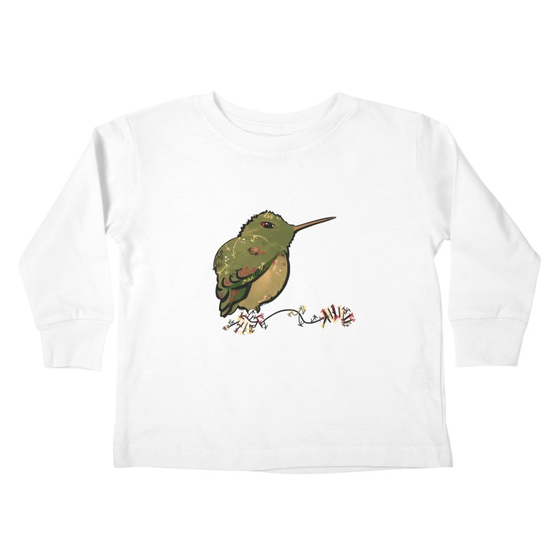 Tiny Hummingbird (Olive) Kids Toddler Longsleeve T-Shirt by VanillaKirsty's Artist Shop