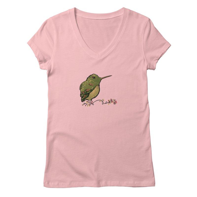 Tiny Hummingbird (Olive) Women's V-Neck by VanillaKirsty's Artist Shop