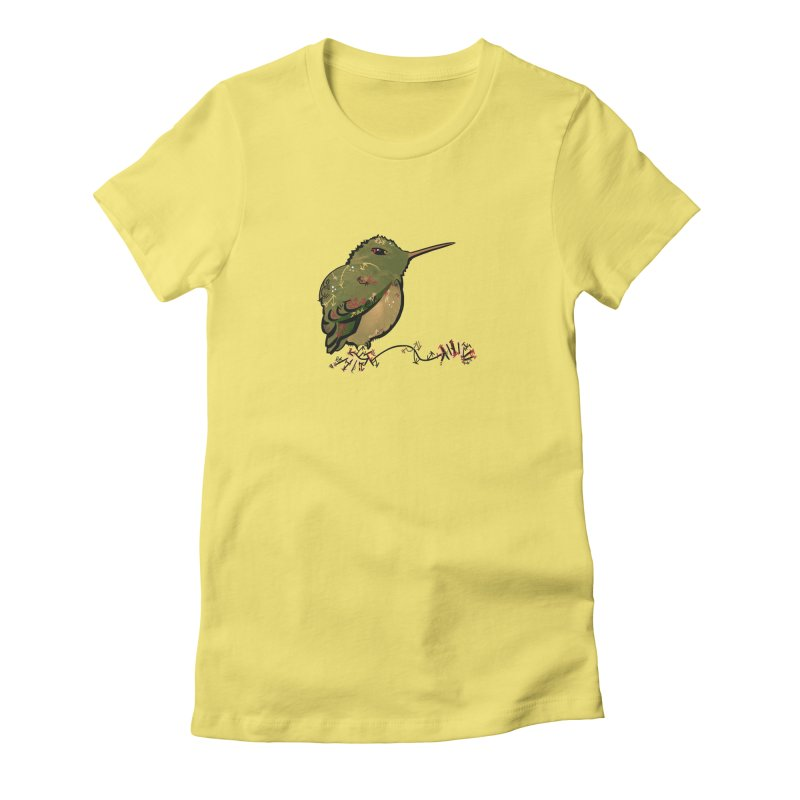 Tiny Hummingbird (Olive) Women's Fitted T-Shirt by VanillaKirsty's Artist Shop