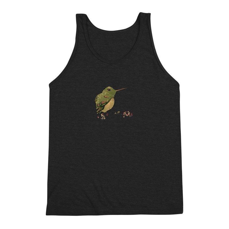 Tiny Hummingbird (Olive) Men's Triblend Tank by VanillaKirsty's Artist Shop