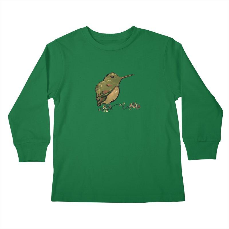 Tiny Hummingbird (Olive) Kids Longsleeve T-Shirt by VanillaKirsty's Artist Shop