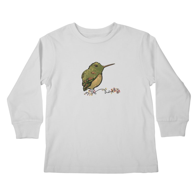 Tiny Hummingbird (Olive) Kids Longsleeve T-Shirt by VanillaKirsty's Artist Shop