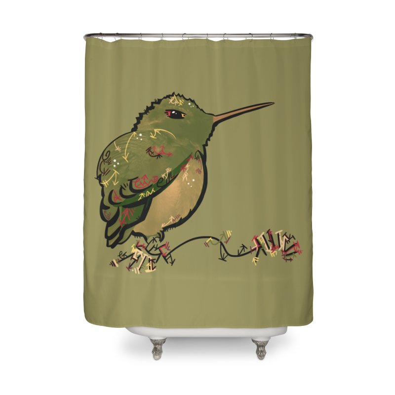 Tiny Hummingbird (Olive) Home Shower Curtain by VanillaKirsty's Artist Shop