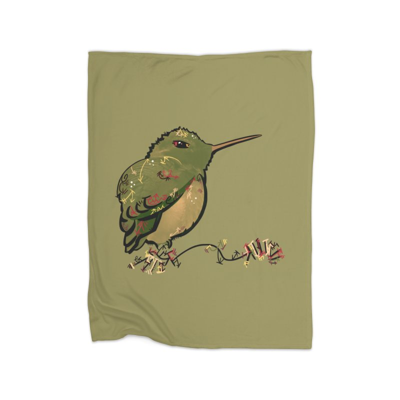 Tiny Hummingbird (Olive) Home Blanket by VanillaKirsty's Artist Shop