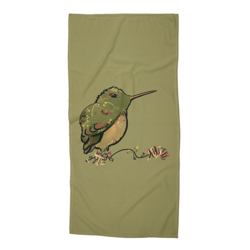 Tiny Hummingbird (Olive) Accessories Beach Towel by VanillaKirsty's Artist Shop