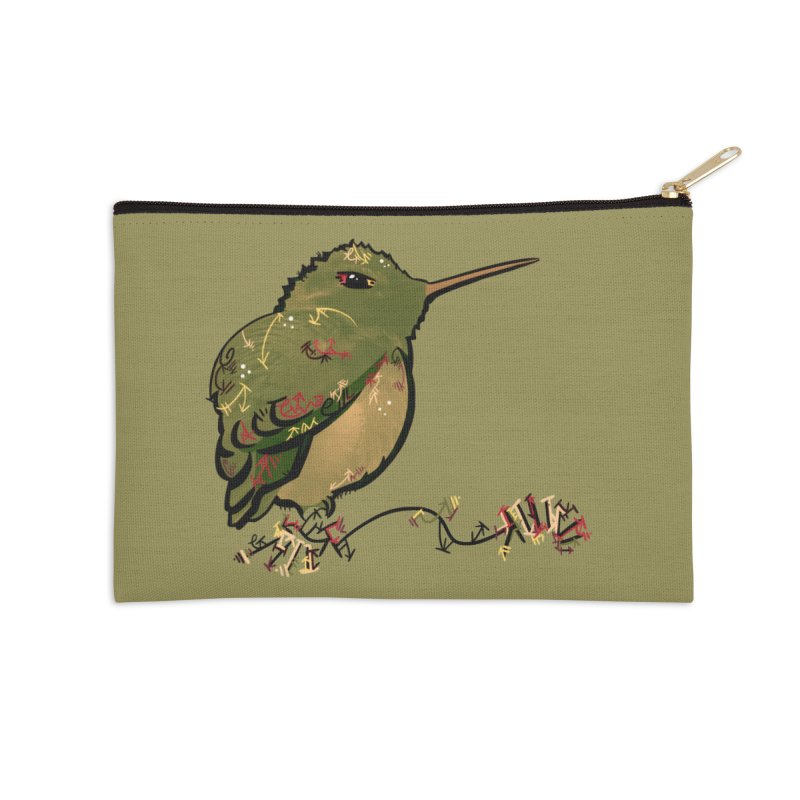 Tiny Hummingbird (Olive) Accessories Zip Pouch by VanillaKirsty's Artist Shop