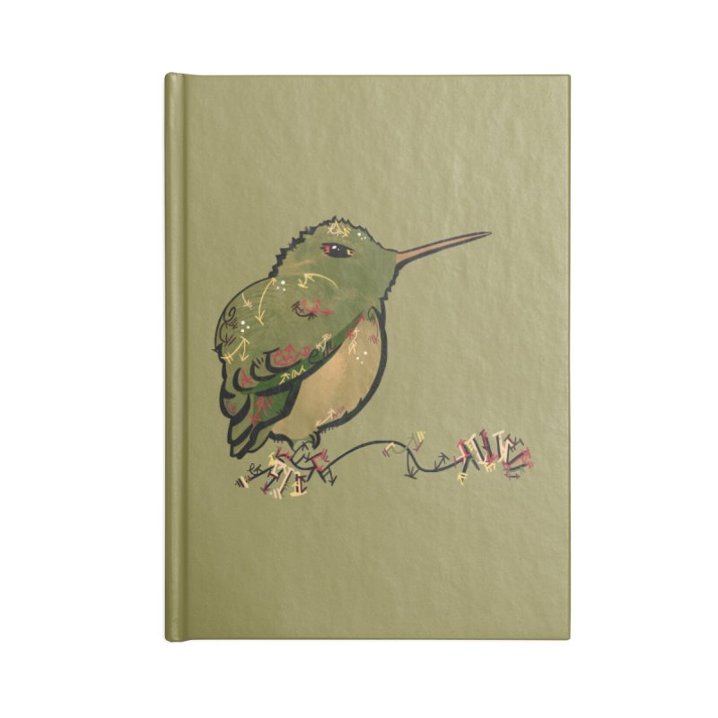 Tiny Hummingbird (Olive) Accessories Notebook by VanillaKirsty's Artist Shop