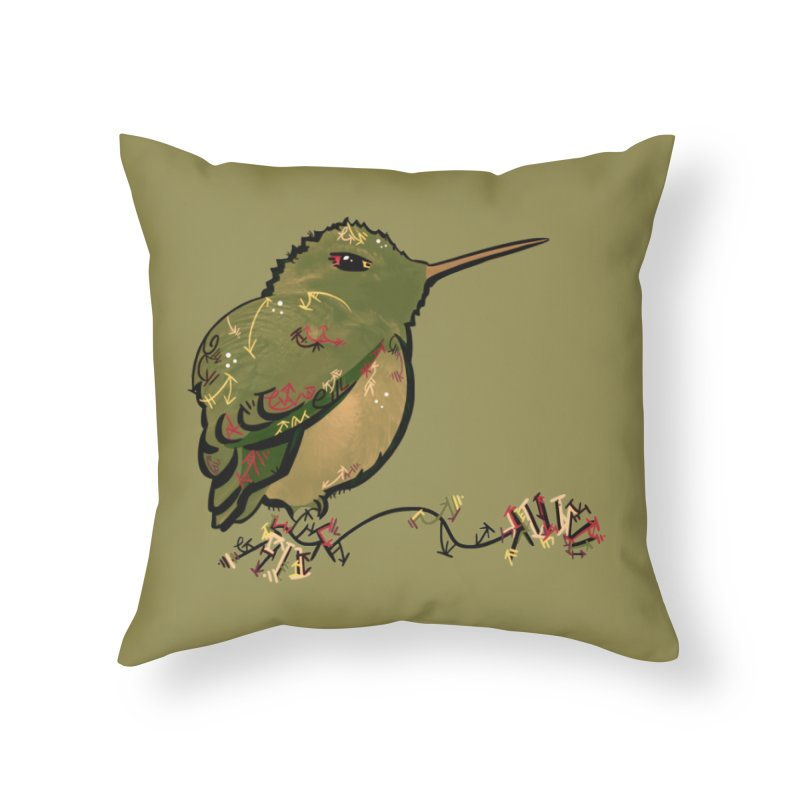 Tiny Hummingbird (Olive) Home Throw Pillow by VanillaKirsty's Artist Shop