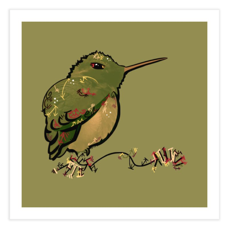 Tiny Hummingbird (Olive) Home Fine Art Print by VanillaKirsty's Artist Shop