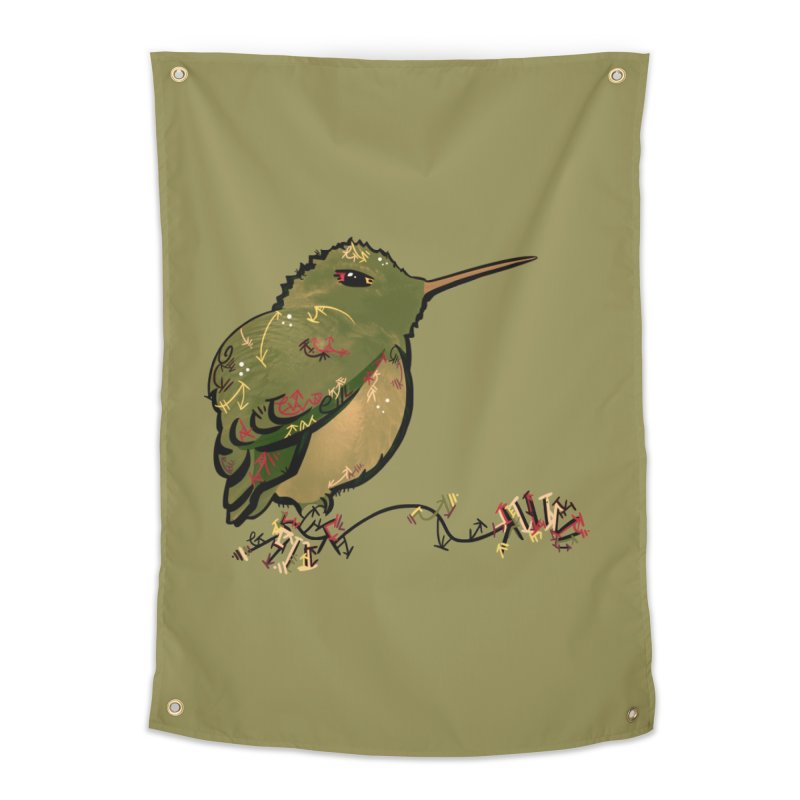Tiny Hummingbird (Olive) Home Tapestry by VanillaKirsty's Artist Shop
