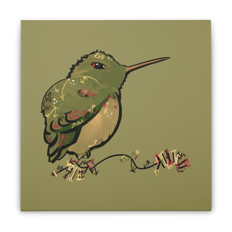 Tiny Hummingbird (Olive) Home Stretched Canvas by VanillaKirsty's Artist Shop