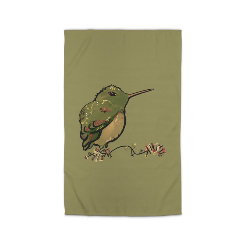 Tiny Hummingbird (Olive) Home Rug by VanillaKirsty's Artist Shop
