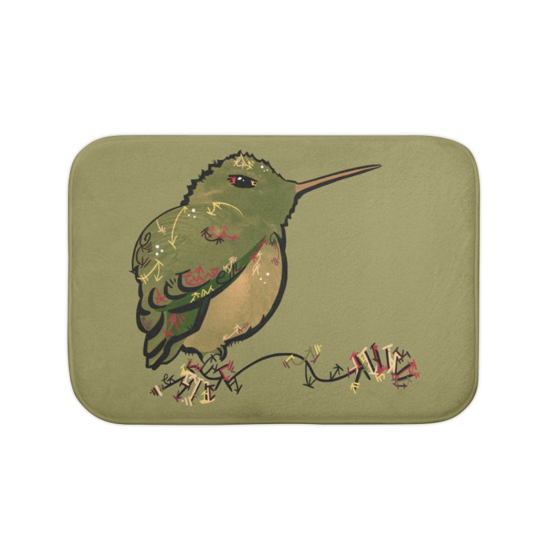 Tiny Hummingbird (Olive) Home Bath Mat by VanillaKirsty's Artist Shop